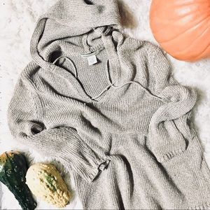 Banana Republic   Knit V-Neck Hoodie Sweater